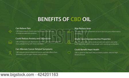 Medical Uses For Cbd Oil, Green Poster With Benefits Of Use Cbd Oil.