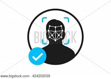 Simple Thin Line Face Id Scan Icon. Face Identification. Identification Of A Person. Face Id Icon. F