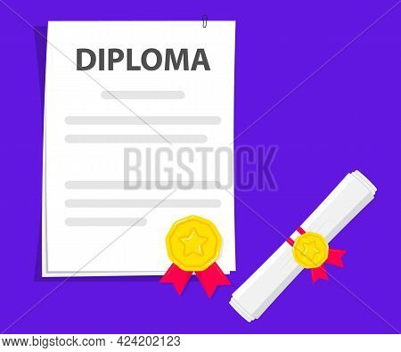 Document. Rolled And Unrolled Diploma Paper Scroll With Stamp. Certificate Degree Of University, Col