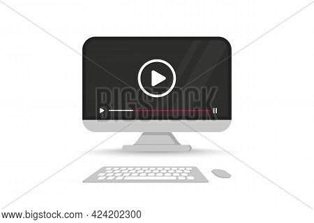 Computer Screen With Video Player On Screen. Monitor Front View With Mock Up Live Stream Window, Pla