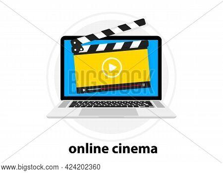 Clapperboard With Online Video Player. Video Tutorial. Online Movie. Online Cinema Of Clapper Board