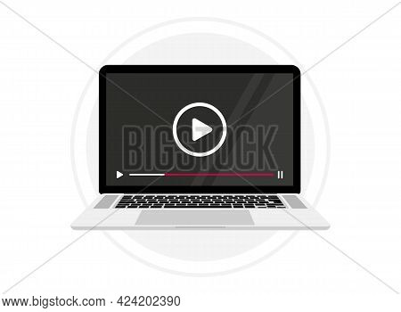 Screen Laptop With Video Player On Screen. Computer With Mock Up Live Stream Window. Notebook With V