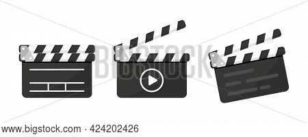 Set Of Black Clapper Board Icon With Button Player In Flat Style. Clapperboard Vector Illustration.