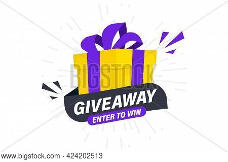 Giveaway, Enter To Win. Social Media Post Template For Promotion Design Or Website Banner. Win A Pri