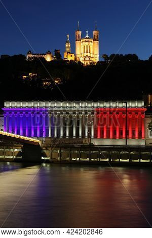 View Of The Basilica Of Fourviere And The Courthouse In Blue White Red In Lyon, France