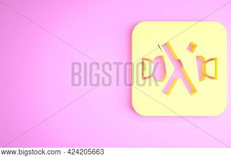 Yellow No Sweets And Candies Prohibition Icon Isolated On Pink Background. No Candy Forbidden Symbol