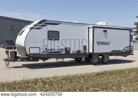 Goshen - Circa June 2021: Forest River Rv Vibe Recreational Vehicle Fifth Wheel Trailer. Forest Rive