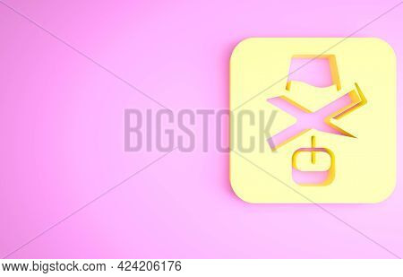 Yellow No Alcohol Icon Isolated On Pink Background. Prohibiting Alcohol Beverages. Forbidden Symbol