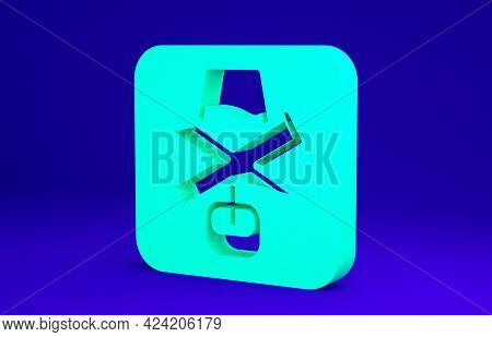Green No Alcohol Icon Isolated On Blue Background. Prohibiting Alcohol Beverages. Forbidden Symbol W