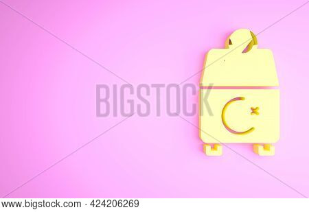 Yellow Donate Or Pay Your Zakat As Muslim Obligatory Icon Isolated On Pink Background. Muslim Charit