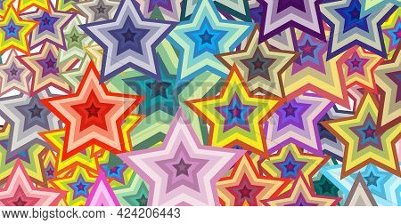 Festive Pattern With Geometric Shapes In The Shape Of Stars.