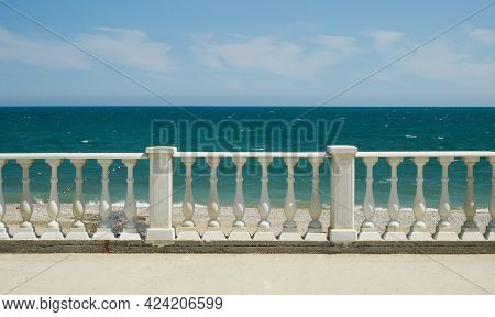 Balustrade On The Black Sea Embankment. Beach Front Of The Sea.