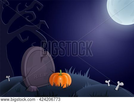 Halloween Background With Graveyard, Grave, Moon And Pumpkin