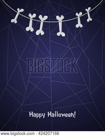 Happy Halloween Background For Design With Hanging Bones