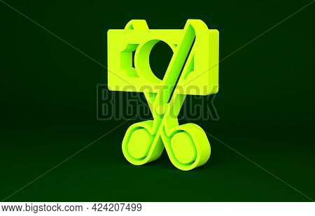 Yellow Scissors Cutting Money Icon Isolated On Green Background. Price, Cost Reduction Or Price Redu