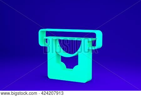Green Atm - Automated Teller Machine And Money Icon Isolated On Blue Background. Minimalism Concept.