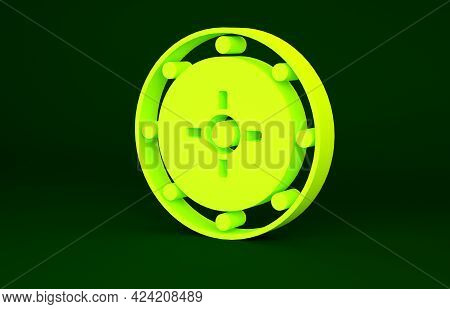 Yellow Safe Icon Isolated On Green Background. The Door Safe A Bank Vault With A Combination Lock. R