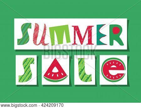 Summer Sale Fancy Lettering Vector Signboard. Flat Watermelon Colors Design Element Of Season Specia