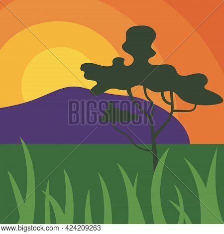 Sunset In The Savannah, Prairie, Africa, Contrast, Landscape, Cartoon Style. Vector Illustration