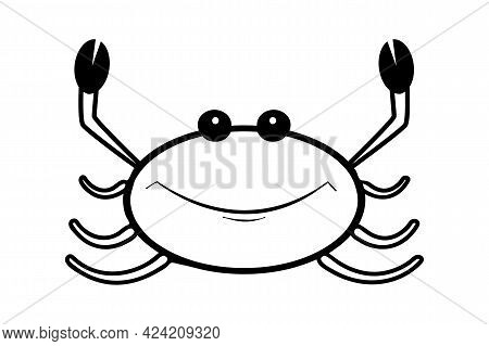 Crab Icon Isolated On White Background. Cancer Sign. Lobster Contour Silhouette. Seafood Shop, Food