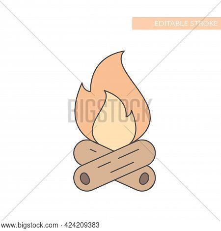 Colorful Bonfire Or Campfire Line Vector Icon. Camp Fire Outline, Editable Stroke.