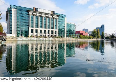 Bucharest, Romania, 7 November 2020 - New Building Of National Library Of Romania Near The Dambovita