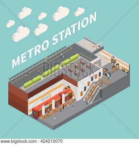 Subway Metro Underground Station With Entrance Escalator Turnstiles Passengers Purchasing Tickets Bo
