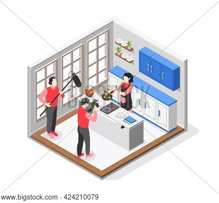 Cooking Show Colored And Isometric Composition Cooking On Camera In Large Bright Studio Vector Illus