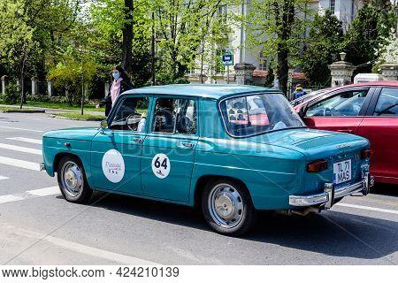 Bucharest, Romania, 24 April 2021 Old Retro Vivid Blue Turquoise Romanian Dacia 1100 Classic Car In