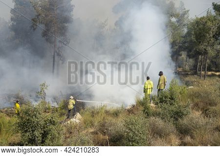 Mevasseret Zion, Israel - June 19th, 2021: Fire Fighters During A Pine Forest Fire On The Municipal