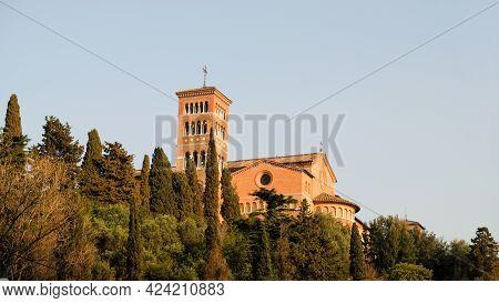 Rome, Piazza Dei Cavalieri Di Malta, Aventine Hill. View Of The Chiesa Di Sant'anselmo All'aventino.