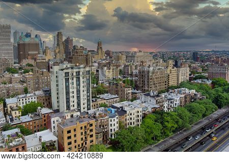 Aerial Fly Over Of Brooklyn Rooftops With Beautiful Brooklyn Apartments At Spectacular Buildings In