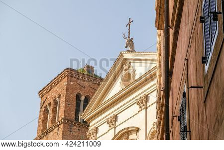 Rome. Deer At The Top Of The Basilica Of Sant'eustachio. Its Origins Go Back To The Viii Century
