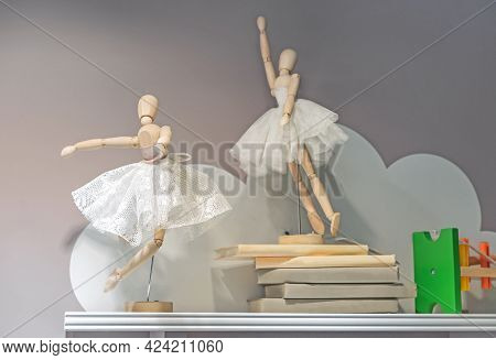 Wooden Ballerina Dolls In Lace Skirts. Gestalta Toy In The Shape Of A Ballerina.