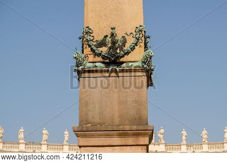 Vatican City. Saint Peter's Basilica Square. Close-up Of Vatican Obelisk, One Of The Eight Egyptian