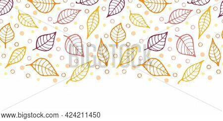 Autumn Colors Doodle Leaves Horizontal Border Repeat Pattern Background. Yellow, Orange And Terracot