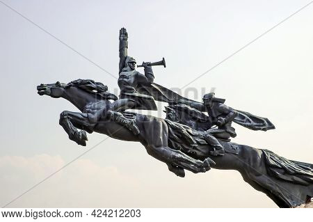 Lviv, Ukraine - March 31, 2011: A Dismantled Monument To The Soldiers Of The First Cavalry Army Near