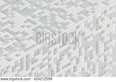 White Diagonal Maze Pattern. Simple, Minimalistic Abstract 3d Rendering.