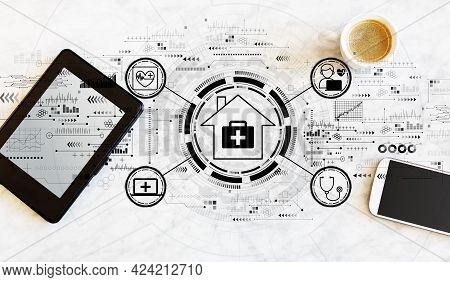 Telehealth Theme With A Tablet Computer And Smart Phone
