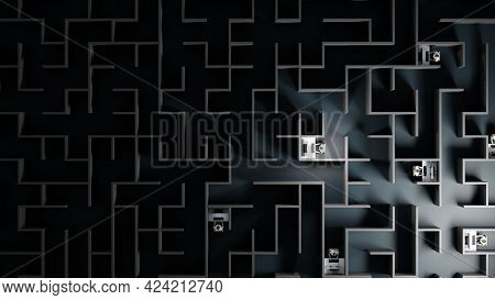 Office Workers Trapped In A Maze. Workaholic, Social Isolation Concept. Digital 3d Rendering.