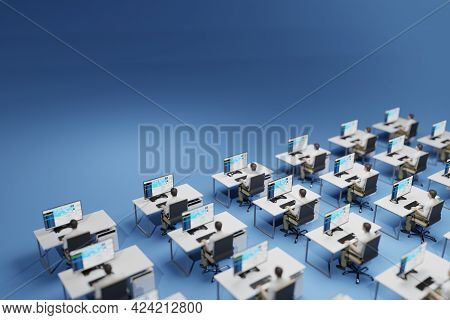 Office Workers Sitting At Their Identical Desks. Rigid, Bureaucratic Corporate Environment, Concept.
