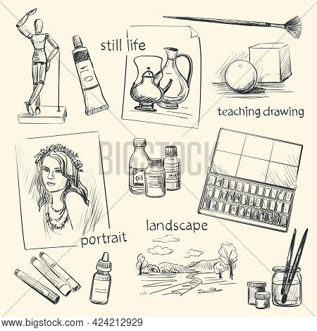 A Set Of Drawings On The Theme Of Visual Arts Education . Art Materials , Instruments And Genres