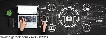 Telehealth Theme With Person Using A Laptop Computer