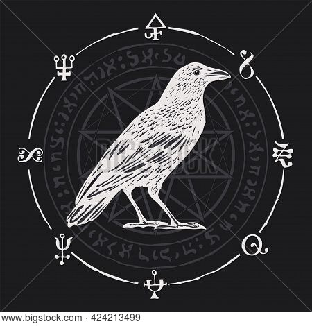 Vector Illustration With A White Crow On A Black Background With An Octagonal Star, Magic Runes, Eso