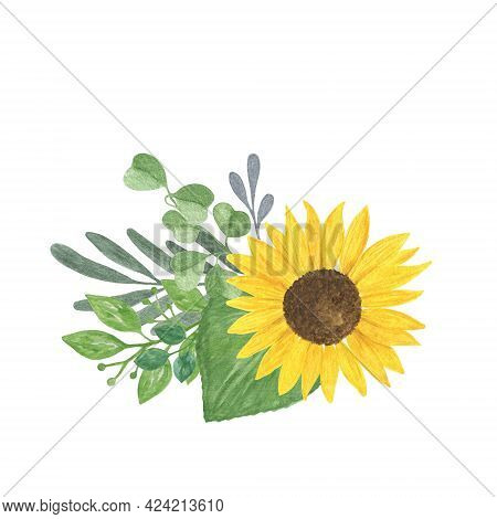Sunflowers And Leaves Bouquet Watercolor Hand Drawn Floral Illustration, Summer Field Agricultural P