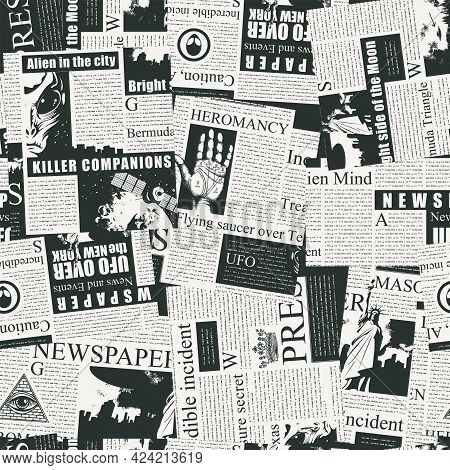Abstract Seamless Pattern With A Chaotic Collage Of Black And White Newspaper Clippings. Vector Back