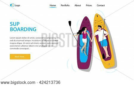 Template For Landing Page. Young Couple Man And Woman Lying On Paddle Boards And Holding Their Hands