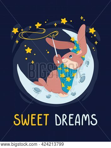 Rabbit Magician With Magic Wand Make Stars On The Sky Lying Down On The Moon. Bunny Wizard In Witch
