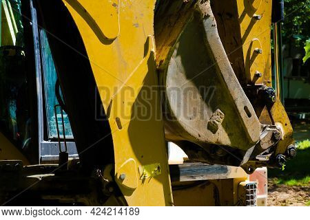 Excavator At Sandpit During Earthmoving Works . High Quality Photo