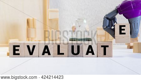 Evaluate Word Made With Building Blocks. Concept